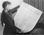 Eleanor Roosevelt reading the UDHR
