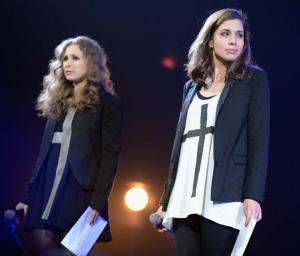 "Masha and Nadya from Pussy Riot at Amnesty International's ""Bringing Human Rights Home"" concert"