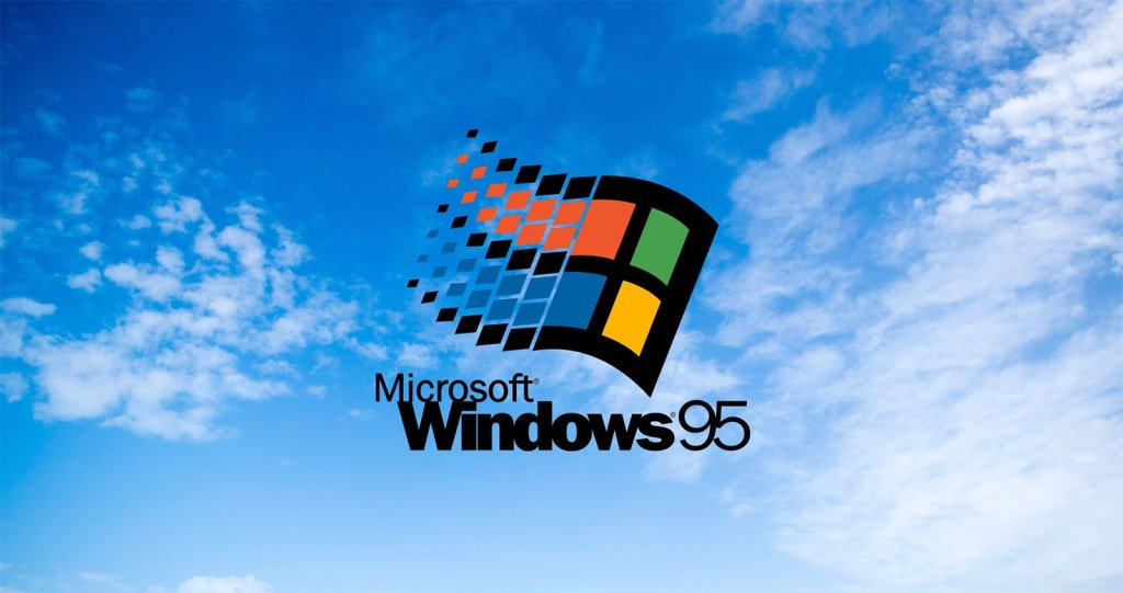Windows 95 background, Old Windows Logo on a cloud background