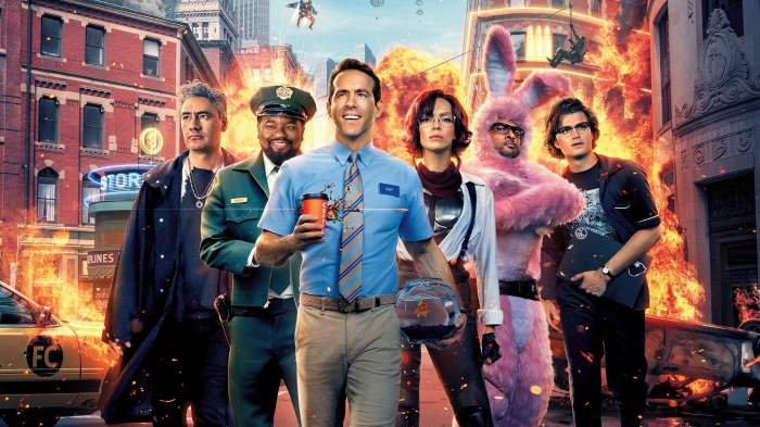 Movie Poster of Free Guy characters featuring Ryan Reynolds, Jodie Comer, Taika Waititi and others